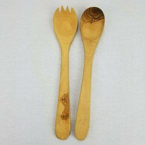 Handcrafted Olive Wood Salad Serving Utensils Fork